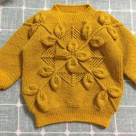 五根针叶子花毛衣 经典儿童棒针叶子花套头毛衣