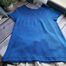 蓝忘机 云清女士棒针圆肩镂空花半袖套衫