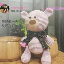为宝宝编织的可爱蝴蝶结钩针小熊