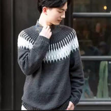 费尔岛圆肩育克钩针男士毛衣编织视频教程(2-1)