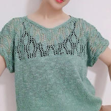 小荷 织法非常简单的女士棒针短袖棉麻套衫