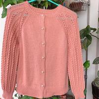 橘粉 女士镂空花插肩袖棒针长袖开衫