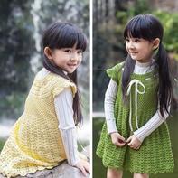 从领口向下编织儿童钩针公主连衣裙编织视频
