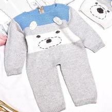 卡通连体服(2-2)棒针婴儿爬行服新手编织视频教程
