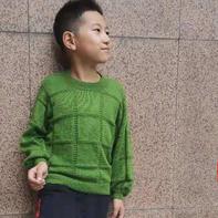 希冀 看图仿衣之儿童棒针方块花样套头毛衣
