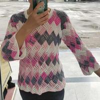 蔷薇 云朵粉白段染女士棒针白桦编织花样套头毛衣
