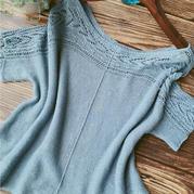 柏兰 简单好穿的云素亚麻横织女士棒针蕾丝短袖套衫