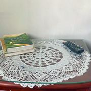 花片一对 婆媳齐钩圆形蕾丝小桌布