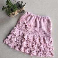 女童钩针粉色半身裙 蝴蝶结蛋糕裙
