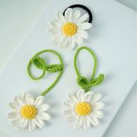 雏菊花(2-1)一物多用创意毛线编织钩针花卉书签挂件编织视频教程