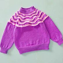 从上往下织双色凤尾花儿童棒针套头毛衣