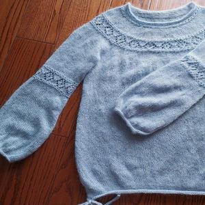 从上往下织女士棒针圆肩菱形镂空花丝马毛衣