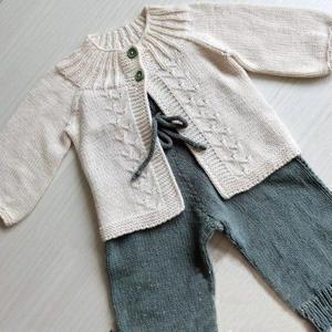 看图仿婴儿棒针开衫长裤套装
