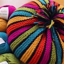 简单好织棒针彩条圆形抱枕靠垫编织视频教程
