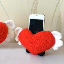 创意编织爱心手机座毛线钩针编织视频教程