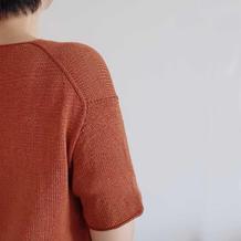 焦茶 从上往下织女士棒针v领中袖套头衫