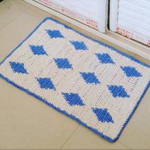 钩针长方形地垫门垫沙发垫布条线编织视频教程