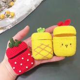 小小草莓(3-1)可愛藍牙耳機套新手毛線鉤針編織視頻教程