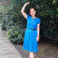 夏日情怀 背后镂空花女士棒针短袖连衣裙