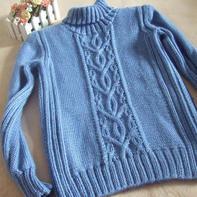 蓝梦 帅帅的男童棒针高领毛衣
