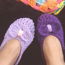 成人鞋底钩法(3-1)布条线钩针拖鞋家居鞋编织视频教程