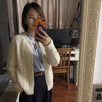 女士棒针圆领麻花开衫(附编织笔记)