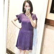 別樣風鈴 女士棒針短袖鏤空花連衣裙