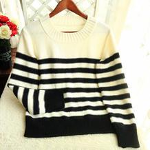 风潇潇 女士棒针黑白条纹圆领毛衣