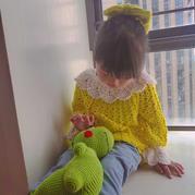 初秋儿童钩针蕾丝领长袖上衣