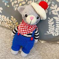 帅气的猫杰里米 钩针猫咪玩偶编织图解教程