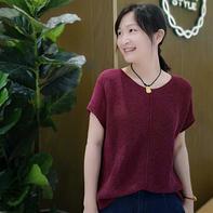 简约 横织女士棒针短袖毛衣