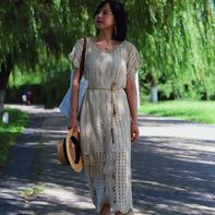 八月 女士钩针蕾丝短袖连衣裙