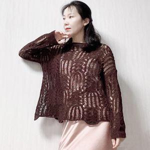一网情深 喵夫人小暑女士棒针棕榈花镂空毛衣