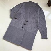 女士棒针菱形花样V领长款羊毛开衫外套