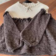 从上往下织9-10岁女童撞色宽松韩式裙式毛衣