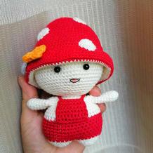 娃娃家2.0钩针可爱蘑菇头娃娃