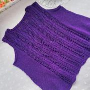 涟漪 喵夫人小暑女士棒针紫色无袖衫