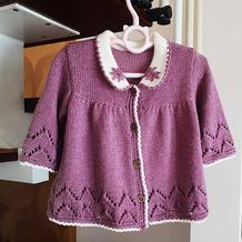 实用可爱儿童棒针娃娃衫式圆翻领开衫毛衣