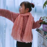 小约定 儿童钩针扇形花流苏围巾(有图解)