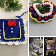 项圈套装(2-2)学院公主风钩针宠物围脖项圈小披肩编织视频教程