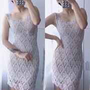 菠萝裙 修身款女士钩针菠萝花样背心裙