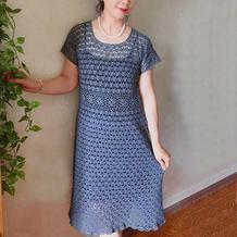 之美 女士钩针部分拼花方领短袖连衣裙