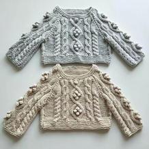 小豌豆(3-2) 婴幼儿棒针扭花插肩毛衣编织视频