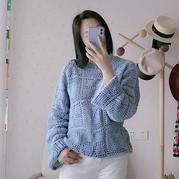 春语 女士钩针拼花休闲宽松套头衫