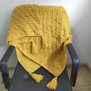 简约大方有立体感的钩针菱形花样午休毯