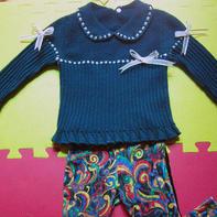 小公主 儿童棒针娃娃领套头毛衣