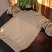 感恩的心 织给老爸的骆驼绒男士棒针圆领毛衣
