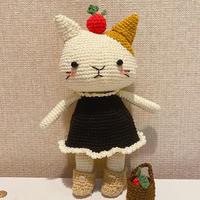 阿基猫 穿小黑裙的钩针猫咪玩偶编织图解