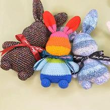 钩针暴力兔七彩兔子 肖战同款彩虹玫瑰兔子编织视频教程