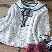 学院风葱  装饰领女士钩织结合套头毛衣